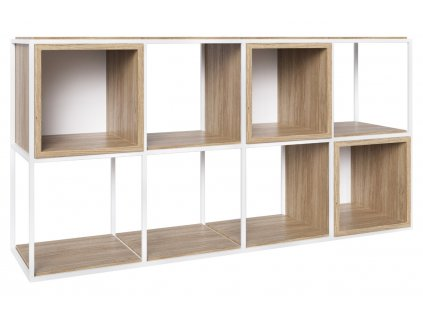 Dubová knihovna Boxer 151 x 40 cm s bílou podnoží