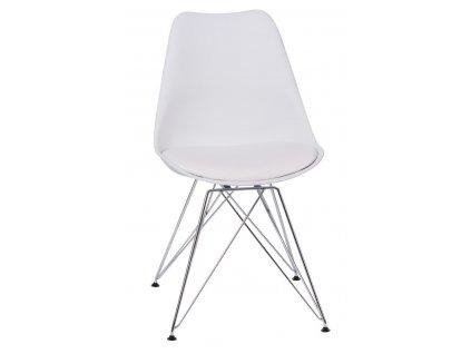 Bílá plastová jídelní židle DSR s koženkovým sedákem