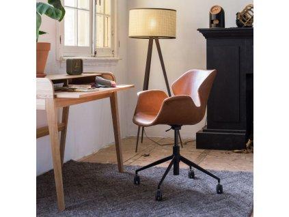 Kancelářská židle ZUIVER NIKKI hnědá ekokůže černá ocelová podnož