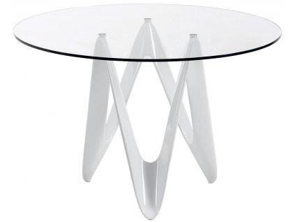 Skleněný kulatý jídelní stůl LaForma EOS s bílou podnoží