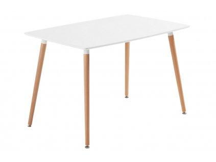 Bílý jídelní stůl LaForma DAW 120x75 cm s bukovou podnoží