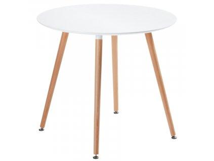 Bílý kulatý jídelní stůl LaForma DAW s bukovou podnoží 100 cm
