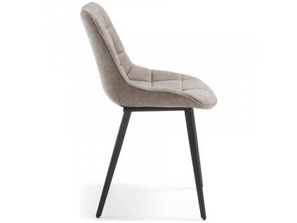 Béžová čalouněná židle LaForma Adah s prošíváním sedáku a kovovou podnoží