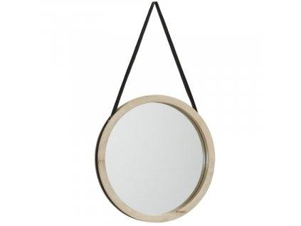 Kulaté dřevěné závěsné zrcadlo LaForma Gyda 40 cm z mangového dřeva a ekokůže, přírodní barva