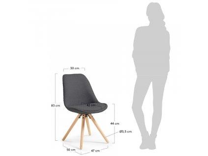 Tmavě šedá látková jídelní židle LaForma Lars