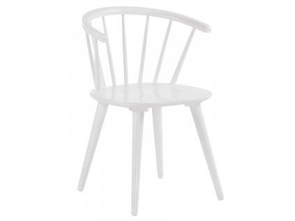 Bílá dřevěná jídelní židle LaForma Krise s područkami