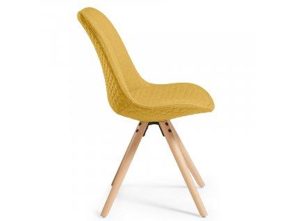 Žlutá čalouněná jídelní židle LaForma Lars