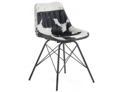 Černobílá kožená židle LaForma Tribu