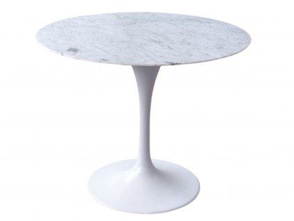 Designový jídelní stůl Tulip 90 cm, bílý, mramorová deska
