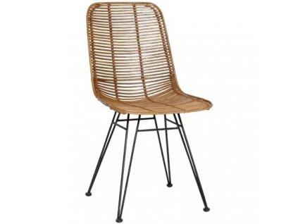Jídelní židle Hübsch Studio, černá podnož, ratan