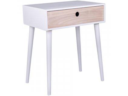 Bílý dřevěný noční stolek Feda 32 x 45 cm