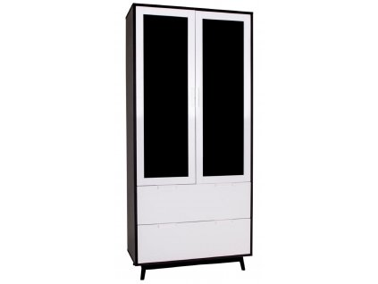 Bílá vitrína Nordic Living Halden s černým rámem