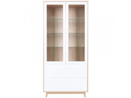 Bílá vitrína Nordic Living Halden s přírodním rámem