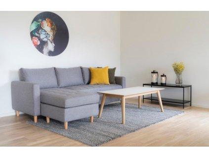 Bílý konferenční stolek Nordic Living Halden s přírodní podnoží 120x60 cm