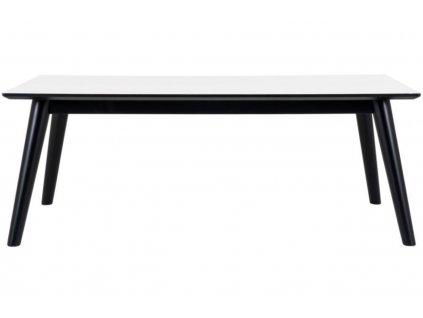 Bílý konferenční stolek Nordic Living Halden s černou podnoží