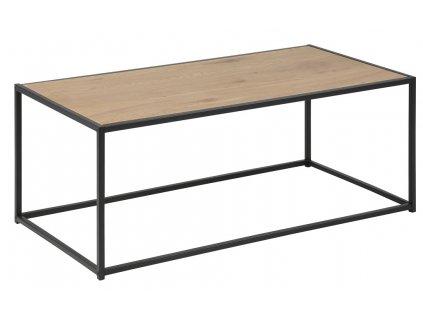 Dubový konferenční stolek Darila 100 cm, desky z melaminu v dekoru divokého dubu, černý kov