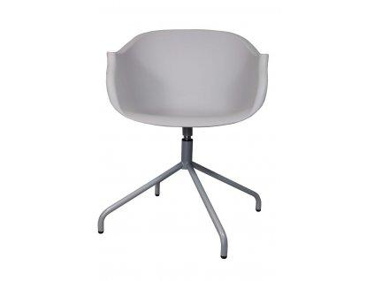 Světle šedá plastová židle Duke