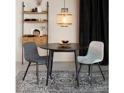 Antracitově šedá čalouněná jídelní židle WLL LESTER
