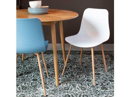 Modrá plastová jídelní židle WLL LEON