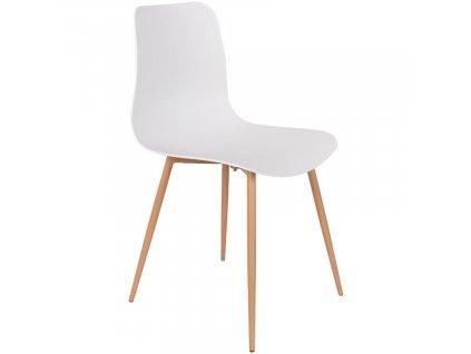 Bílá plastová jídelní židle WLL LEON