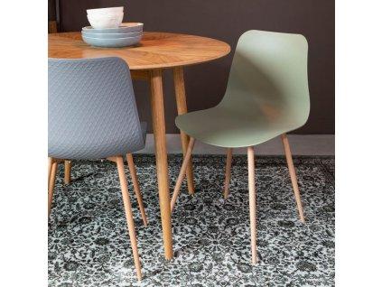 Zelená plastová jídelní židle WLL LEON