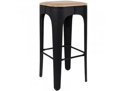 Černá plastová barová židle WLL UP-HIGH s jasanovým sedákem 73 cm