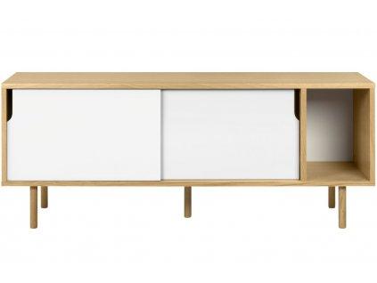Bílá dubová komoda Deron 165 x 45 cm s dřevěnou podnoží