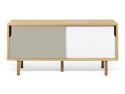 Bílošedá dubová komoda Deron 135 x 45 cm s dubovou podnoží