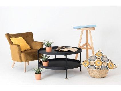 Černý konferenční stolek Nollan 80 cm se zlatými detaily