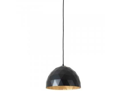 Černé kovové závěsné světlo Auron M se zlatými detaily