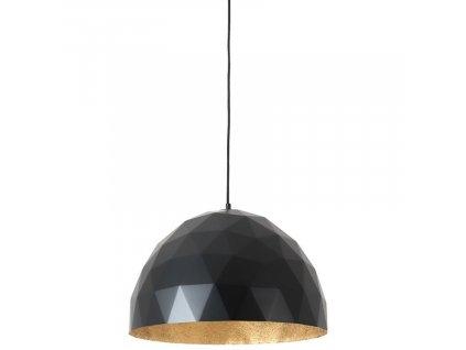 Černé kovové závěsné světlo Auron L se zlatými detaily