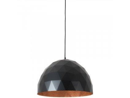Černé kovové závěsné světlo Auron L s měděnými detaily