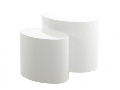 Bílý set konferenčních stolků Alida, lakovaná deska MDF