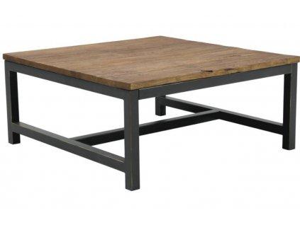 Dřevěný konferenční stolek Kalma 90 cm, deska z masivního jilmového dřeva ošetřeného voskem, podnož z černě lakovaného kovu s patinou