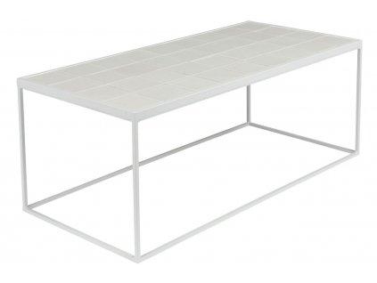 Bílý konferenční stolek Zuiver Glazed MDF keramický obklad kovová konstrukce
