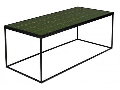 Zelený kovový konferenční stolek ZUIVER GLAZED s keramickým obkladem 93x43 cm