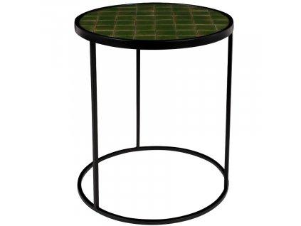 Zelený kovový odkládací stolek ZUIVER GLAZED s keramickým obkladem 40 cm848x848 (2)