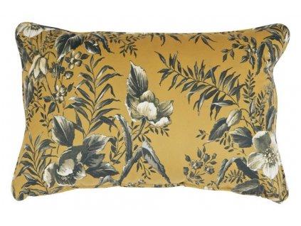 Žlutý sametový polštář Tergi 40x60 cm