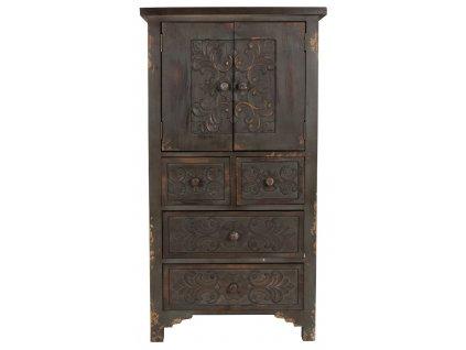 Hnědá komoda DUTCHBONE FUZ 118 cm, vintage, květinový ornament, jemná patina laku, rustikální