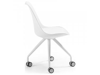 Bílá koženková konferenční židle LaForma Lars