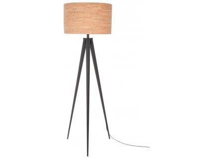 Černá stojací lampa ZUIVER TRIPOD CORK Ø 50 cm