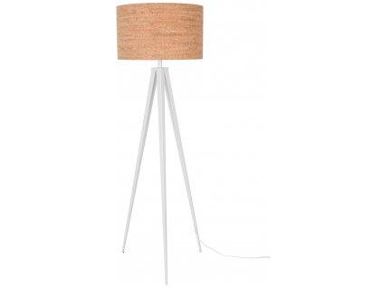 Bílá stojací lampa ZUIVER TRIPOD CORK Ø 50 cm