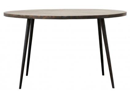 Tmavě hnědý kulatý mangový jídelní stůl Club 130 cm
