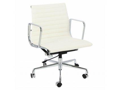Bílé kožené kancelářské křeslo Soft Pad Group 117