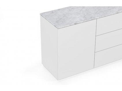 Bílá dřevěná komoda Lettia 120 x 50 cm s bílým mramorem