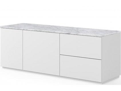 Bílá dřevěná komoda Lettia 160 x 65 cm s bílým mramorem