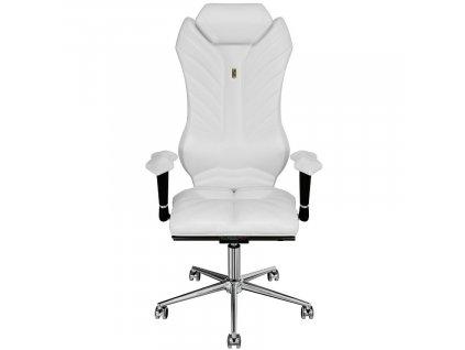 Bílé koženkové kancelářské křeslo Monarch