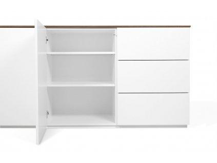 Bílá dřevěná komoda Lettia 180 x 50 cm s ořechovou deskou