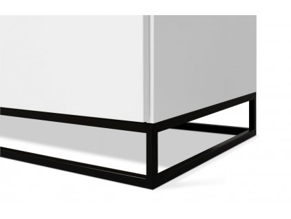 Bílá dřevěná komoda Lettia II 180 x 50 cm s dubovou deskou