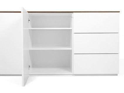 Bílá dřevěná komoda Lettia II 180 x 50 cm s ořechovou deskou